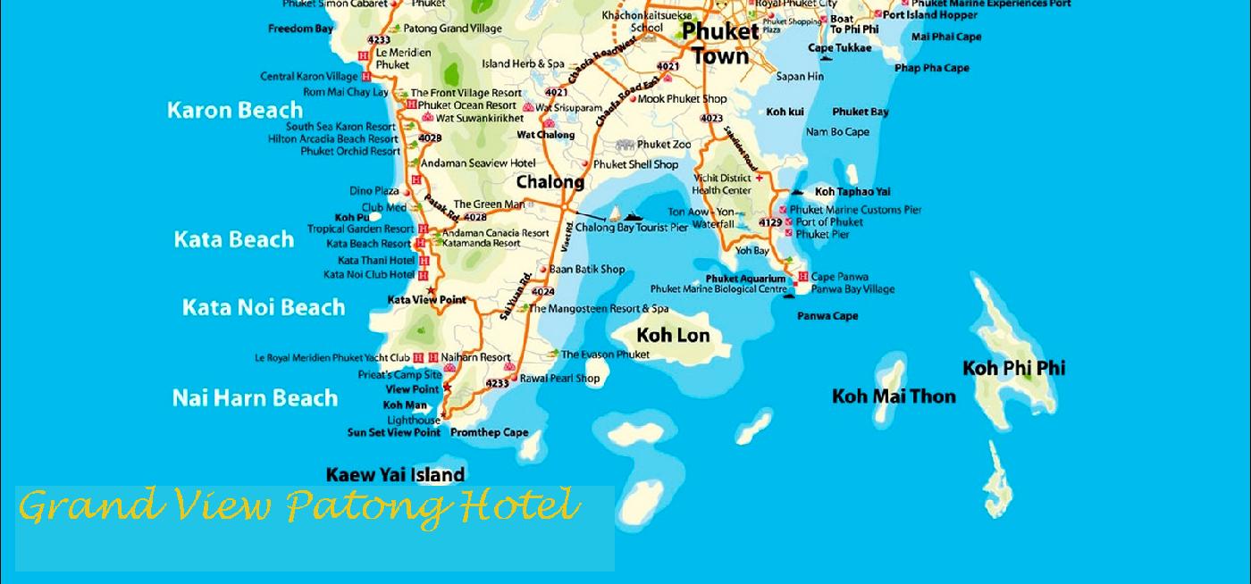 Karta Thailand Patong.Grand View Patong Hotel Big Map Phuket